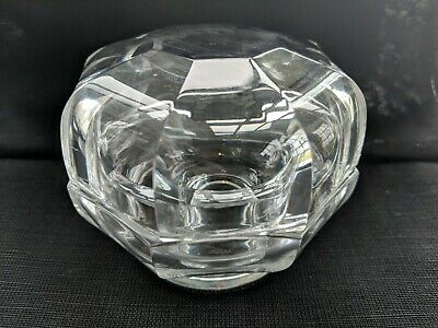 BACCARAT FRANCE SIGNED POWDER JAR Octagon Shaped CLEAR with Lid