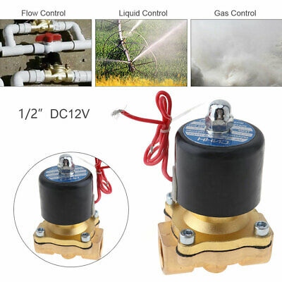 1/2'' DC 12V Brass Electric Solenoid Valve Normally closed for Water/Oil/Gas