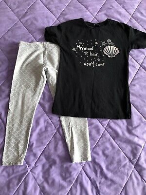 Mermaid Hair Dont Care Black T-shirt And Leggings Outfit Set 5-6 Years George