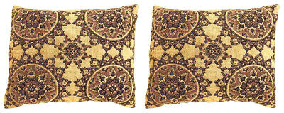 Pair of Vintage Decorative Tapestry Pillows with Circles Design