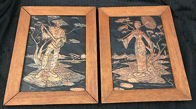 LOT Of 2 Vintage Hammered Copper Relief Asian Art Sculpture Japanese Girl Geisha