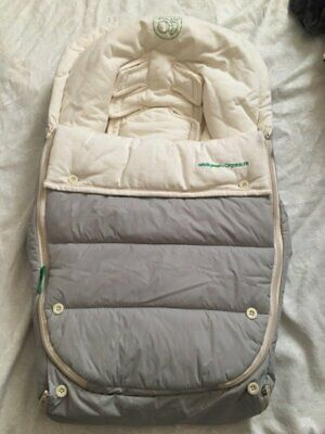 Orbit Baby Stroller Car Seat Infant Muff Bunting Warm Cream Organic Cotton Gray