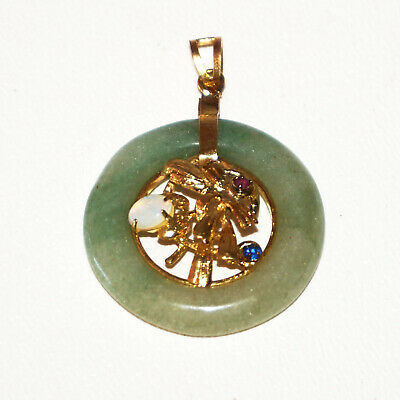 Vintage Chinese Green Jade Disk Pendant w. 3x Synthetic Gemstone Accents (Auj)