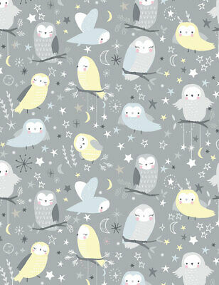 Fabric Owls Whimsical on Gray Cotton 1/4 Yard Timeless Treasures