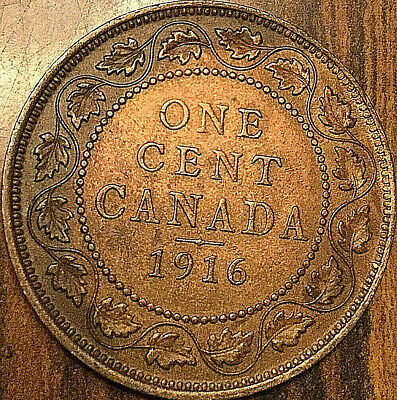 1916 CANADA LARGE CENT PENNY LARGE 1 CENT COIN - Excellent example!