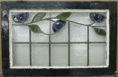 """OLD ENGLISH LEADED STAINED GLASS WINDOW TRANSOM Stunning Floral Vine 29"""" x 19"""""""