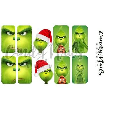 Nail art water Slide decals  Transfers Grinch Christmas Xmas Festive