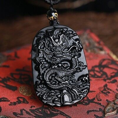 Natural & Obsidian Hand Carved Chinese Dragon Good Luck Charm Pendant  ❤