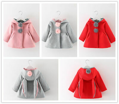 Girl Infant Newborn Winter Warm Outerwear Hooded Coat Cotton Jacket Kids Clothes