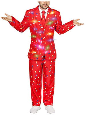NEW Life of the party LED Light-Up Christmas Sweater 3-Piece Holiday Party Suit