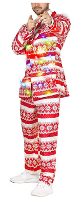 Life of the party LED Light-Up Christmas Sweater 3-Piece Holiday Party Suit