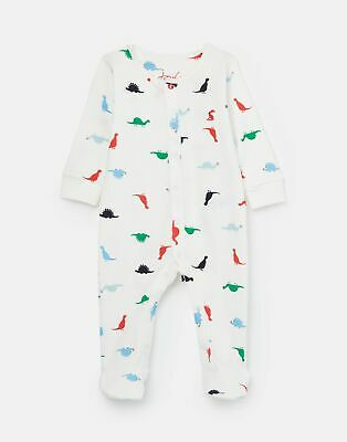 Joules Baby Ziggy Printed Sleepsuit First Size 12 Months in WHITE BABY DINO