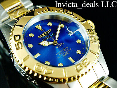 Invicta Men's 37mm Pro Diver SUBMARINER Blue Dial 18K Gold Plated 2Tone SS Watch