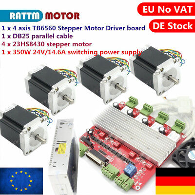 4P Nema23 270oz-in stepper motor+4 Axis TB6560 board+power supply CNC Kit「AT DE」