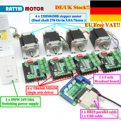 【Ger】4 Axis Dual Shaft Nema23 76mm Stepper Motor 270Oz-in 3A&Driver&Power supply