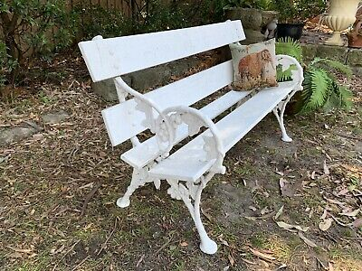 Antique French Louis Style Cast Iron and Timber Outdoor Garden Bench~Chair