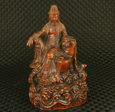 blessing Chinese old boxwood Guanyin buddha figure statue home decoration