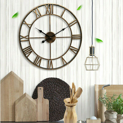 Extra Large Roman Numerals Skeleton Wall Clock Big Giant Open Face Round Gold