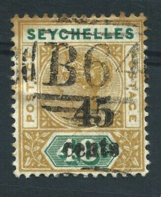 SEYCHELLES - 1893 45c on 48c OCHRE & GREEN Fine Used (B64 Postmark)
