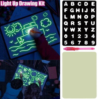 Boy Kids Light Up Drawing Fluorescent Magic Writing Board Kit Fun Developing Toy