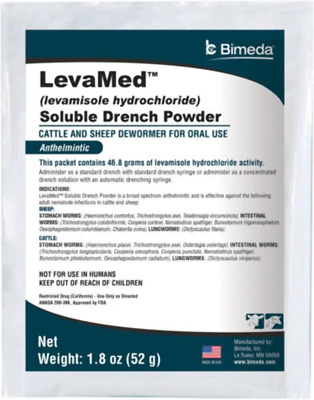 LevaMed Levamisole Soluble Drench Powder Wormer Cattle & Sheep Made in the USA
