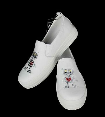 Skechers street womens double up robot love air cooled memory form white siz 6.5