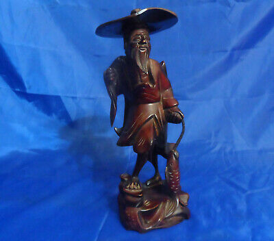 "Vintage Asian Fisherman Hand Carved 12"" Wood Art Sculpture, Statue or Figurine"