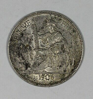 1906 A French Indo China Silver Piastre De Commerce KM# 5a.1