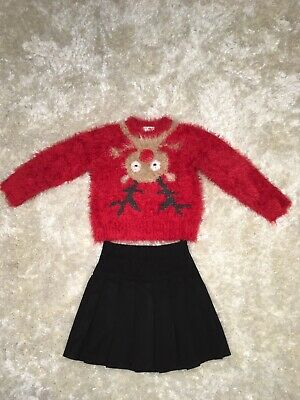 Next Girls Flashing Reindeer Christmas Party Jumper & Skirt Outfit - 3-4 Years