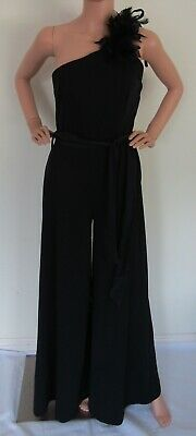 Vintage Belle of my Heart 70s one-shoulder black poly feather flared jumpsuit, S