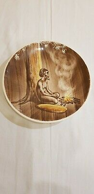 Authentic Aboroginal Ceramic Wall Hanging Hand Etched Plate - Rita Karagelinian