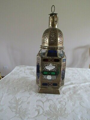 Rare Antique Brass Moroccan Filigree Lantern  with Colored stained glass inserts