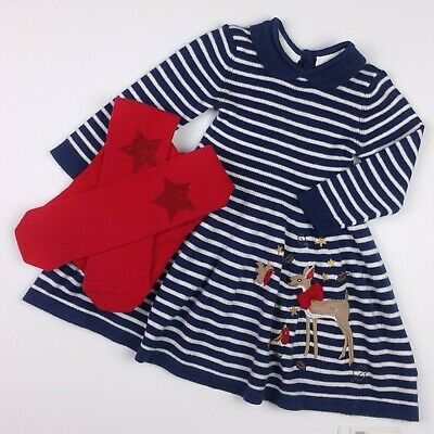 Baby Girls MOTHERCARE Knitted XMAS Dress & M&S Star Tights Set 3-6 Months NWT