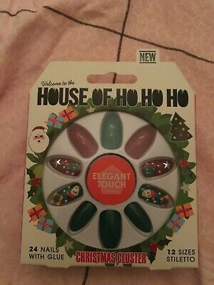 house of ho ho ho christmas cluster false nails