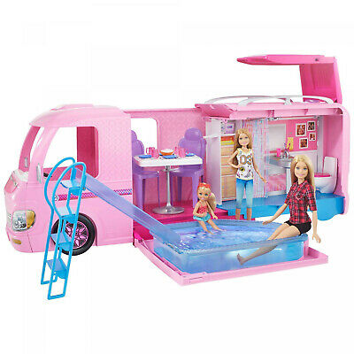 New Barbie DreamCamper Adventure Camping Playset with Accessories Pink