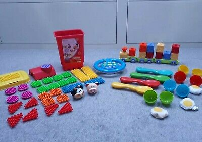 Toddlers Toy Bundle -ELC train, egg & spoon game, noisy ster wheel, clipo bricks