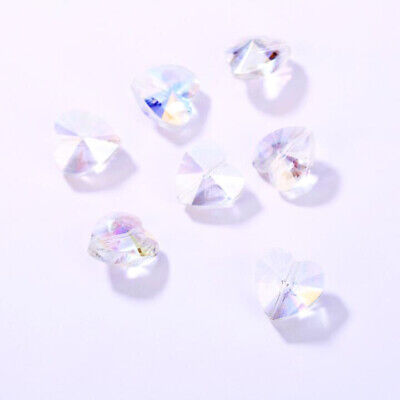 20pcs 14x8mm Faceted Glass Crystal Heart Spacer Loose Beads DIY Jewelry Making