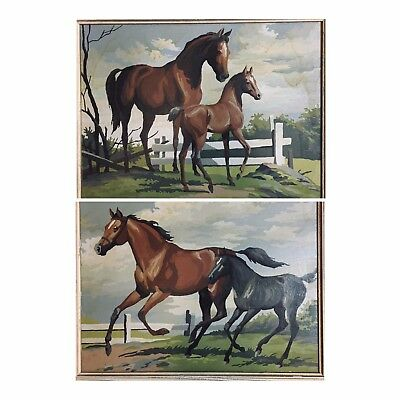 2 Horse Paintings Vintage Framed 19.5 x 15.5 Paint By Numbers