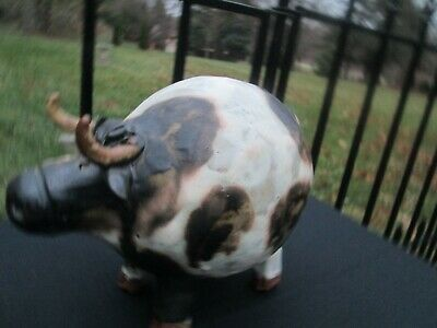 Vintage Whimsical Cow Pottery Sculpture Brown & White with Horns & Utter Signed