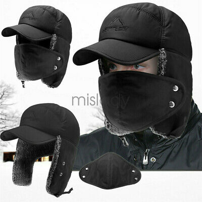 Mens Winter Trapper Aviator Trooper Hat Windproof Earflap Ski Face Mask Cap Warm