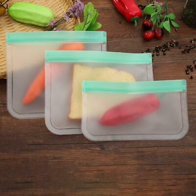 Kitchen Fresh Zip Lock Bag Reusable Silicone Food Sealed Freezer Storage Ziplock