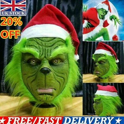 The Grinch Mask Adult Costume Cosplay How the Grinch Stole Christmas Outfits Hot