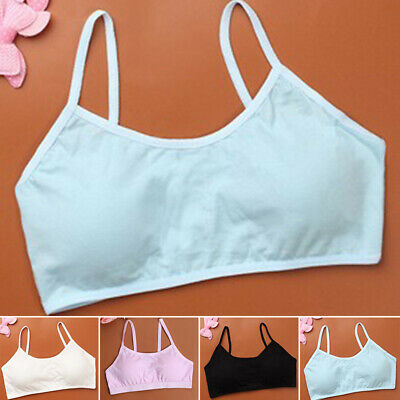 Girls Comfy Bra Cotton Underclothes Strap Vest Sports Breathable Tops Underwear