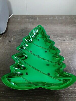 Green Christmas Tree  Serving Dish, display your holiday candy cookies & treats.