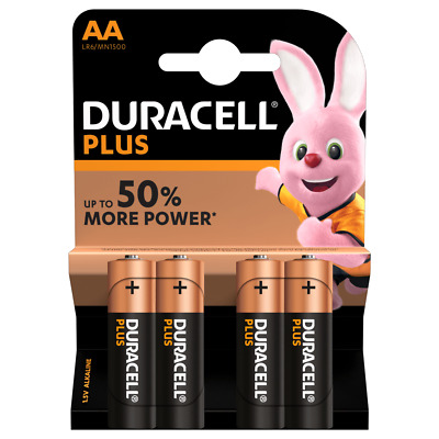 Genuine Duracell AA Power Plus Alkaline Battery Pack of 4