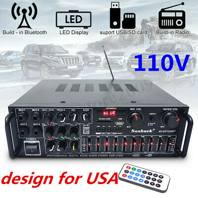 110V 2 Channel 2000 Watts Pro bluetooth Power Amplifier AMP Stereo Audio USB SD