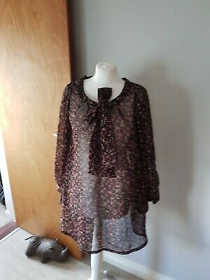 NEW PRINTED PAISLEY FLORAL BLACK PURPLE LONGLINE PUSSY BOW TUNIC BLOUSE TOP 8-20