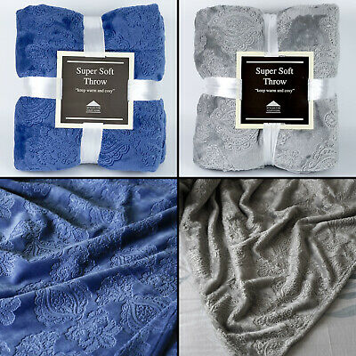 Damask Blue Or Grey Super Soft Bed / Sofa Cosy Warm Blanket Throw 150cm x 190cm
