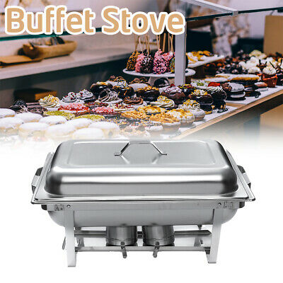 3 Trays Stainless Steel Food Warmer Chafing Dish Square Buffet Stoves Caterers