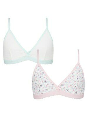 John Lewis Girls Floral Bee Bra 2 Pack White 30 A Brand New Free UK Postage